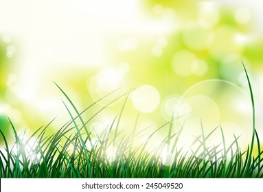 green grass with spring abstract blur background vector illustration