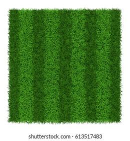 Green grass striped soccer field, vector illustration.