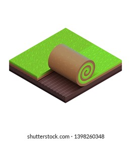 Green grass turf roll. 3D vector isometric icon. Cut of soil. Square plot of summer lawn. Piece of garden. Unrolled sod over raking fat land. Isolated object. Detailed texture. Symbol of landscaping