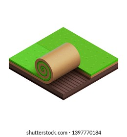 Green grass turf roll. Vector isometric icon. Cut of brown soil. Square plot of land. Summer lawn. Small piece of garden. Half unrolled sod over loosened ground. Isolated object. Symbol of gardening