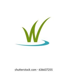 Green Grass W Letter Logo Template Illustration Design. Vector EPS 10.
