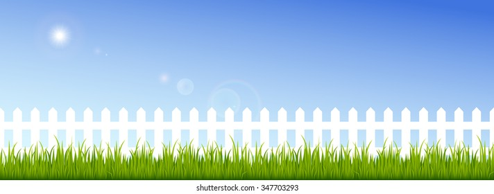 Green grass and white fence on a clear blue sky background. Vector illustration