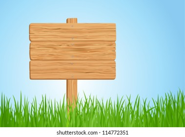 Green grass and Wooden sign in vector format