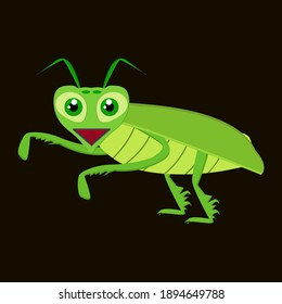 the green grasshopper character is laughing