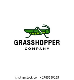 green Grasshopper logo, cricket insect icon in trendy minimal Geometric line linear style