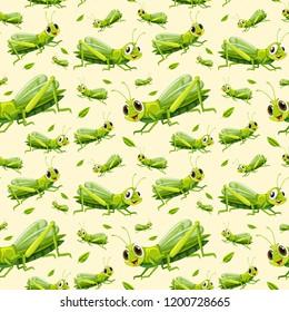 Green grasshopper seamless background illustration