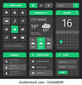 Green and gray mobile interface. Calendar and weather forecast with login.