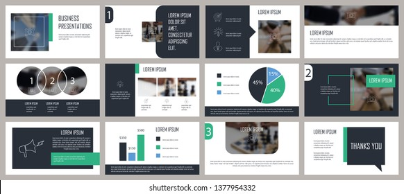 Green and gray presentation template. Elements for slide presentations on a white background. Flyer, brochure, corporate report, marketing, advertising, annual report, banner