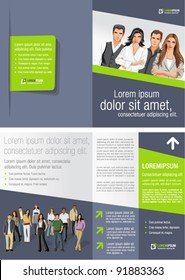 Green and gray template for advertising brochure with business people