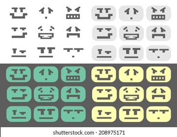 Green, gray, yellow and isolated pixel style different emotions smiles set