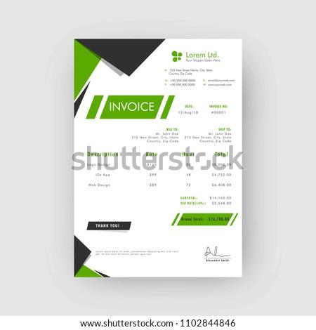 Green Grey Corporate Invoice Estimate Template Stock Vector Royalty