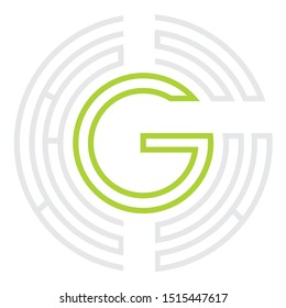 Green and Grey Maze Logo with Letter G Inside
