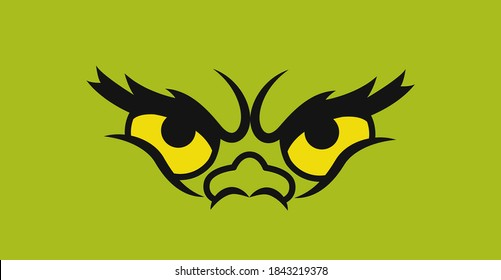 Green grinch monster eyes. Isolated. Vector