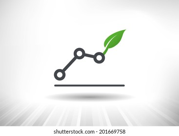 Green Growth. Rising line chart ending with green leaf. Background and chart on separate layers.