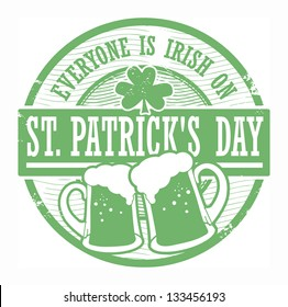 Green grunge rubber stamp with Beer mugs and the text St. Patrick's Day written inside, vector illustration