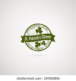 Green grunge rubber stamp with clover. Happy St. Patrick's Day and get lucky stamp. Vector illustration EPS10.