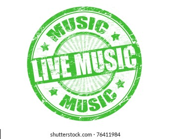 Green grunge rubber stamp with text live music written inside, vector illustration