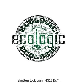 Green grunge rubber stamp with the word ecologic written inside the stamp