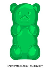 Green gummy bear vector illustration