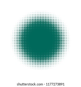 Green halftone circles, dots pattern, vector, grunge. Comic texture background. Monochrome half-tone. Circle halftone Dots, White and organic geometric gradient for pop art designs.