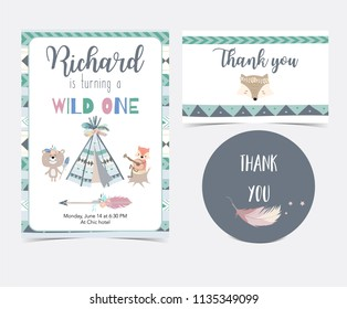 green hand drawn cute card with feather,tent,bear,fox,arrow and wild.Thank you