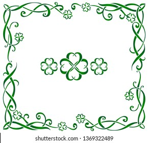 Green hand drawn ornate vector Celtic frame with triskels and four-leaf clovers