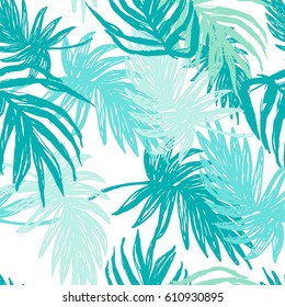 Green Hand Drawn Palm leaves Seamless Pattern.New Exotic Botanical Print
