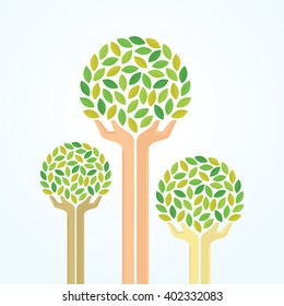 Green hand tree for saving the environment. Illustration EPS 10