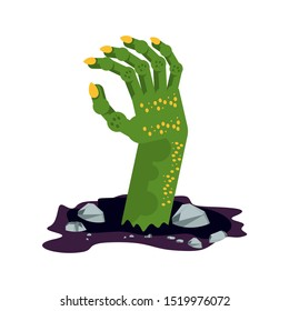 Green hand of a zombie sticks out of the ground in a cemetery. The living dead. Halloween character. Flat vector cartoon person on white background.