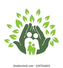 green hands and leafs holding together  miniature human family, abstract logo icon