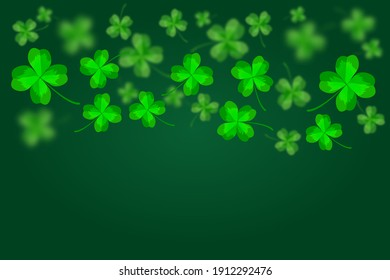 Green Happy Saint Patrick's Day background. Abstract bright and blurry clovers backdrop template. Happy Patrick's Day banner with flying lucky shamrock leaves and copy space. Stock vector illustration
