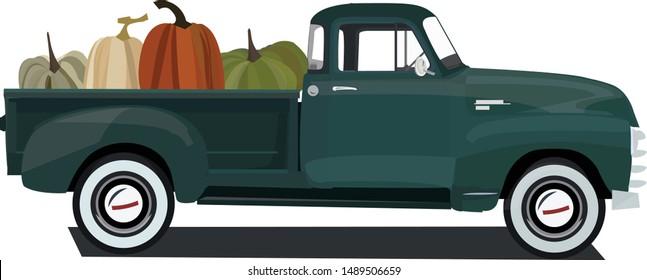 Green Harvest Truck With Pumpkins