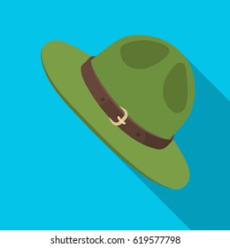 971da6a260b Green hat of a Canadian ranger. single icon in flat style vector symbol  stock illustration