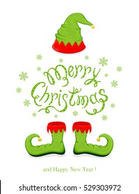 Green hat and shoes elf isolated on white background, holiday costume and lettering Merry Christmas and Happy New Year with snowflakes, illustration.