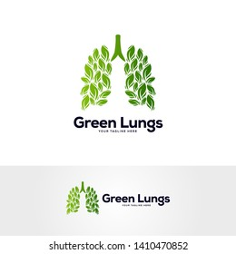green healthy lungs logo with creative abstract leaves, respiratory system logo designs