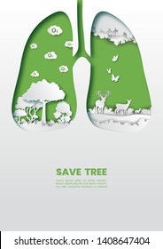 Green healthy lungs with trees concept,Paper art and digital craft style.