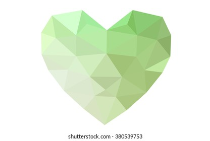 Green heart isolated on white background. Geometric rumpled triangular low poly origami style gradient graphic illustration. Vector polygonal design for your business.