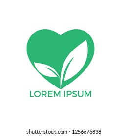 Green heart with leaf vector design. Healthcare or nature care concept logo design.