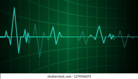Green Heart pulse monitor with signal. Heart beat. icon. ekg