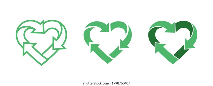 Green heart shape symbol with arrows. Recycle logo, environment care sign. Recycle icon in line, glyph, flat style. Applicable for eco products package. Vector illustration