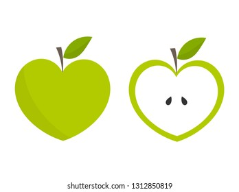 Green heart shaped apple icons. Vector illustration