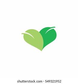 Green heart shaped logo icon design template with two leaves.