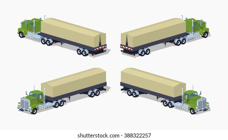 Green heavy truck and trailer with the tarpaulin tent. 3D lowpoly isometric vector illustration. The set of objects isolated against the white background and shown from different sides