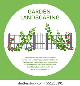 Green hedge. Element of landscape design in a flat style. Brochure or banner template, illustration of vertical gardening by climbing plants. Colored gardening icon.