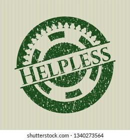 Green Helpless distress grunge stamp