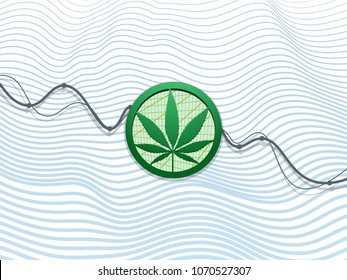 green hemp leaf in circle amid falling financial chart. white background. business topic and medicine icon