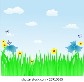 green herb with flowers and blue sky