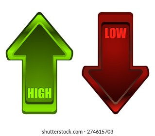 Green High and Red Low Glossy Arrows, Vector Illustration.