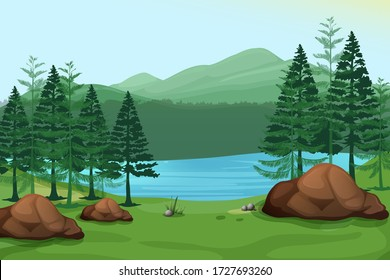 green hill mountain stone rock lake beautiful view