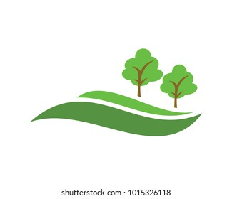 green hill vector with tree vector illustration design landscape